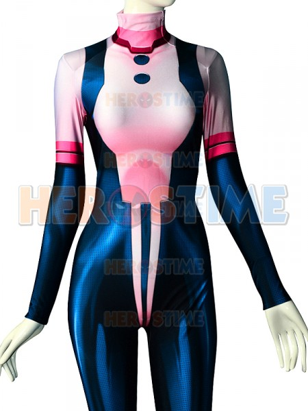 Top Quality 3D Print Pink Uraraka Costume Spandex Female/kids Cosplay Suit My Hero Academia Ochaco Uraraka Bodysuit Adults Kids