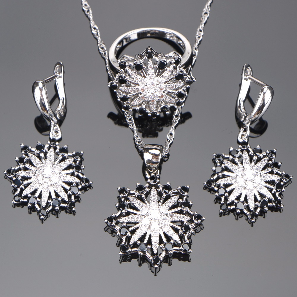 Women Cubic Zirconia Costume Bridal Jewelry Sets Stone 925 Sterling Silver Wedding Earrings Ring Necklace Set Gifts Box