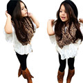 New Fashion  4 pcs girl clothes set Vest+Lace Bat Shirt+Long Pants+Leopard Scarf Clothes Outfits set toddler girl clothing great