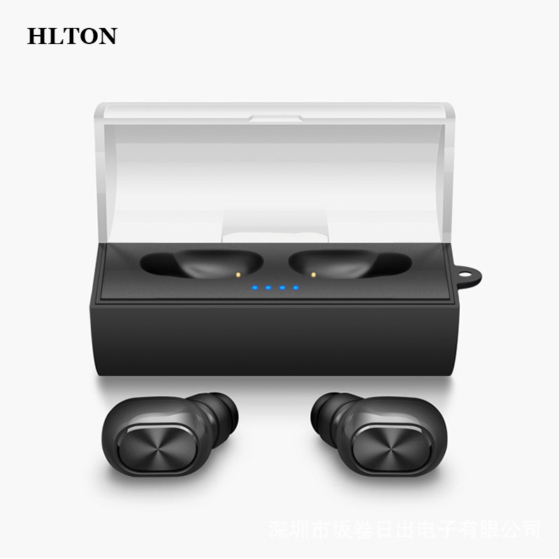 HLTON Mini Double Wireless Bluetooth Headset HD Stereo Music Earphone Hands-free Voice Control Earphone With Charging Socket epgate d00280 hands free bluetooth v4 0 music earphone orange