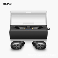 HLTON Mini Double Wireless Bluetooth Headset HD Stereo Music Earphone Hands Free Voice Control Earphone With
