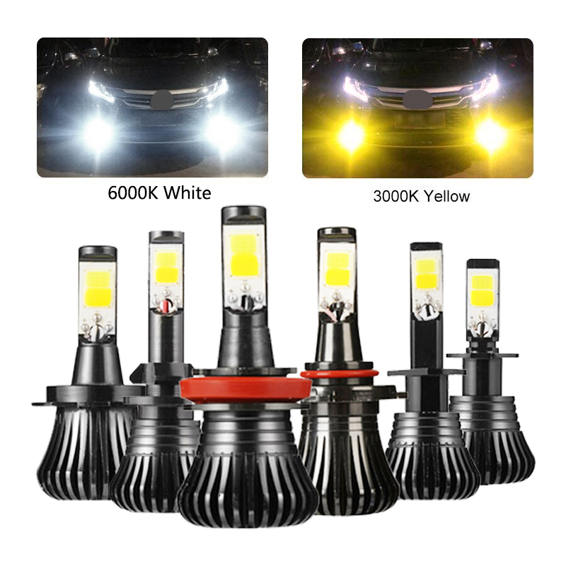 Niscarda 2Pcs COB  H1 H4 H7 H8 H11 9005 Driving 6000K White 3000K Amber Yellow Car Fog Lights Bulbs Dual Color Auto LED Lamps