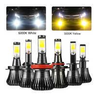 Niscarda 2Pcs COB H1 H4 H7 H8 H11 9005 Driving 6000K White 3000K Amber Yellow Car Fog Lights Bulbs Dual Color Auto LED Lamps