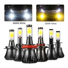 Niscarda 2 Pcs COB H1 H4 H7 H8 H11 9005 di Guida 6000 K Bianco 3000 K Ambra Giallo Auto Nebbia luci di Lampadine di Colore Doppio Auto Lampade A LED