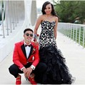 2016 Black Lace Prom Dress with Beautiful Ruffles Mermaid Evening Dress Sweetheart Women Dress for Special Occasion ED512