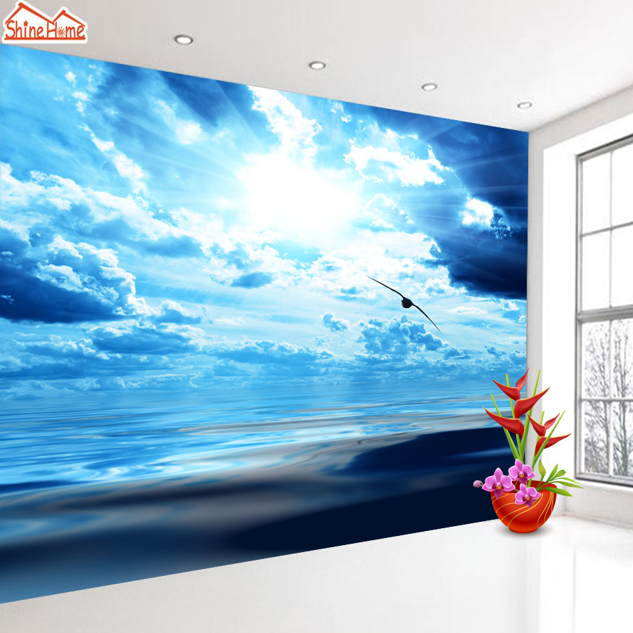 ShineHome-Confident Flying Eagle Blue Sky Animal Wallpaper Murals Rolls for 3d Walls Wallpapers for 3 d  Living Rooms Wall Paper shinehome seascape forest lake in sunset wallpaper rolls for 3d walls wallpapers for 3 d living rooms wall paper murals roll