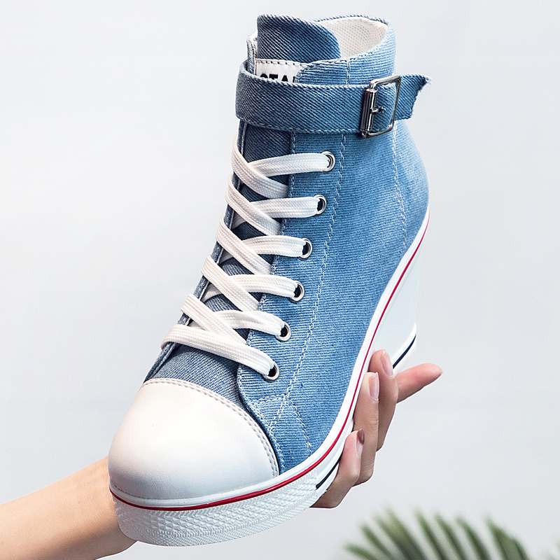 Image 2 - 2018 New Fashion Women High Top Canvas Sneakers Wedges Shoes Womens Denim Ankle Lace Up Ladies Ankle Canvas Shoes WomanWomens Vulcanize Shoes   -