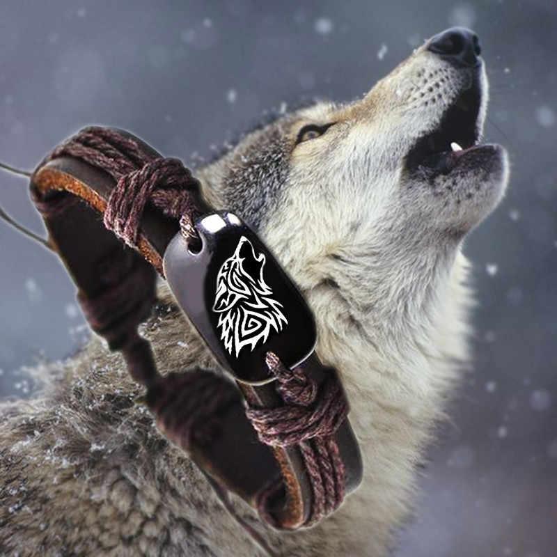 Rugido lobo animal backer tecido corda de couro unisex pulseira yak osso esculpido, moda pulseira para mulher homem transporte da gota