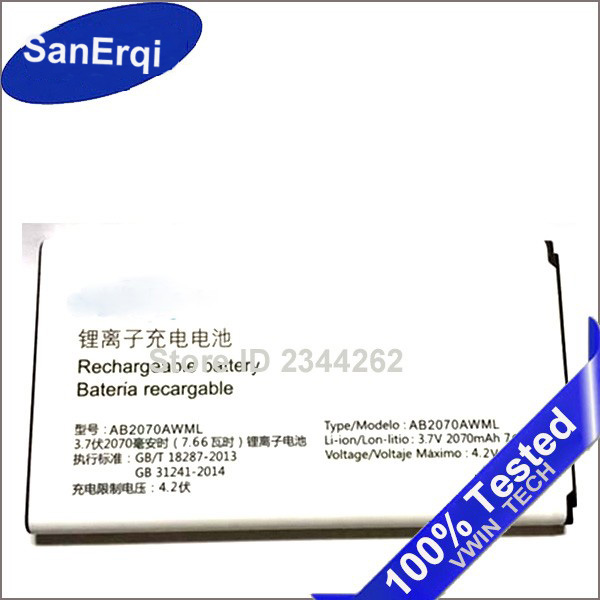 Brand New SanErqi battery For <font><b>PHILIPS</b></font> E170 cellphone AB2070AWML 2070 mAh for Xenium CTE170 Mobile Phone Battery image
