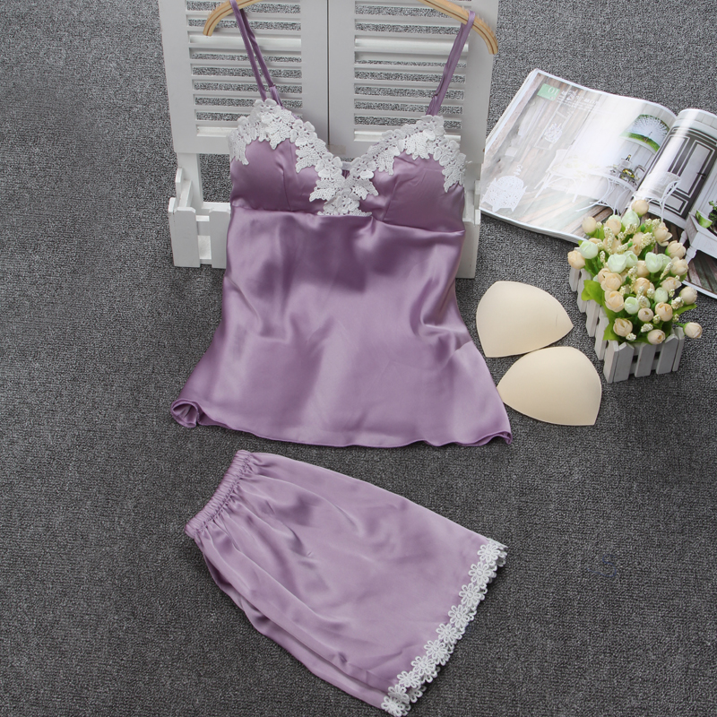 Dámská sexy hedvábná saténová pyžamová souprava krajka pyžamová souprava výstřih do krku Pijama Feminino Summer Hot Sleepwear Nighwear pro ženy