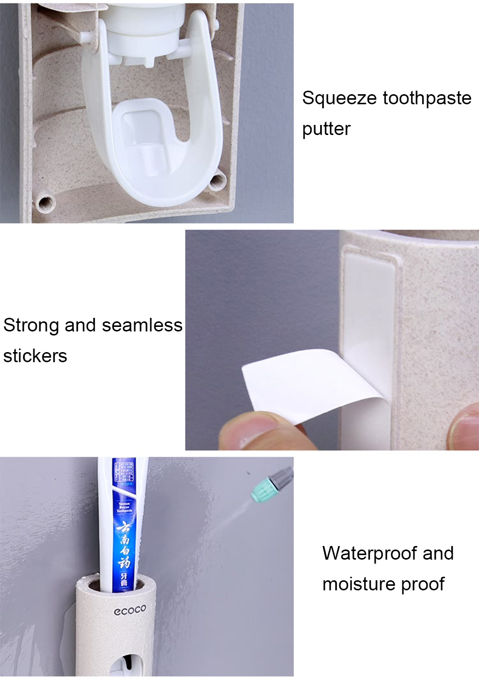 HTB1cbb9eL1H3KVjSZFHq6zKppXaa - BAISPO Automatic Toothpaste Dispenser Toothbrush Holder Wall Mount Stand Bathroom Accessories