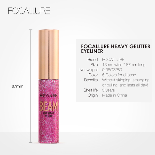 FOCALLURE 5 colors professional Eyeliner waterproof Glitter easy to wear eye liner colorful Quick dry liquid eyeliner 4