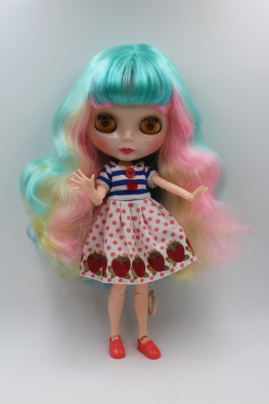 цена на Free Shipping BJD joint RBL-217J DIY Nude Blyth doll birthday gift for girl 4 colour big eyes dolls with beautiful Hair cute toy