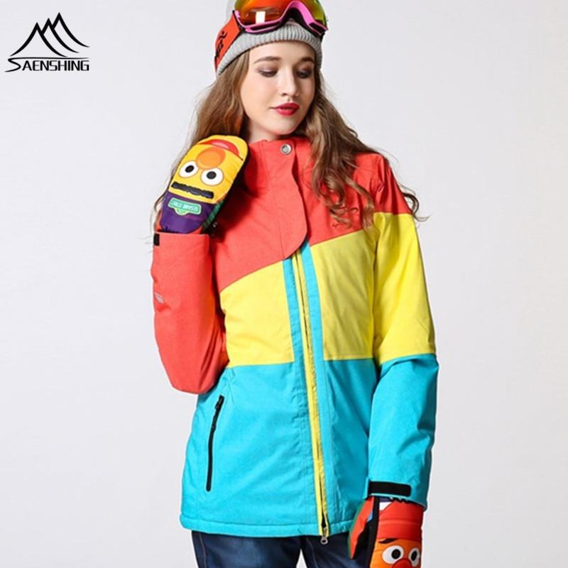 Prix pour 2016 veste de snowboard femmes veste de ski Imperméable Super Chaud Neige Manteaux Pour-30 Respirant Ski ski costume femmes hiver veste