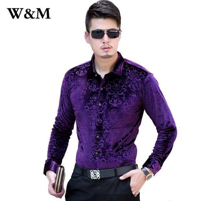Mens dress velvet shirts french cuff business casual men for French cut shirt sleeve