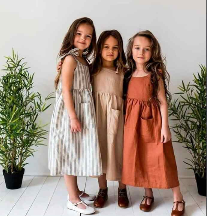 2018 Ins European&America Girl Dress Linen Toddler Kids Summer Clothings Casual Fashion Girl Clothes