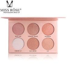 Miss Rose 6 Colors Brighten Base Makeup Glow Kit Palette Highlighter Illuminator
