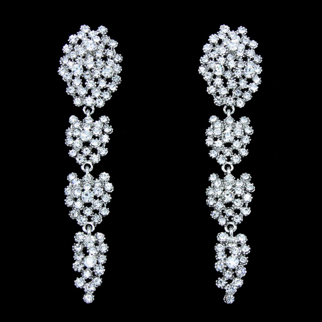 Ocesrio Long Rhinestone Earrings Fashion Jewelry Silver Crystal Statement Wedding Accessories Brincos Ers