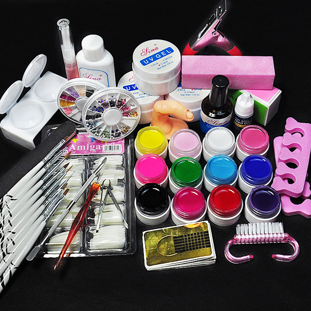 1 Set Nail Art Tool Kit Manicure Set For Beginners 12 Color UV Gel&8 Zebra Brush Nail Art Tools Base Gel Top Coat Gel Kit nail art manicure tools set uv lamp 10 bottle soak off gel nail base gel top coat polish nail art manicure sets