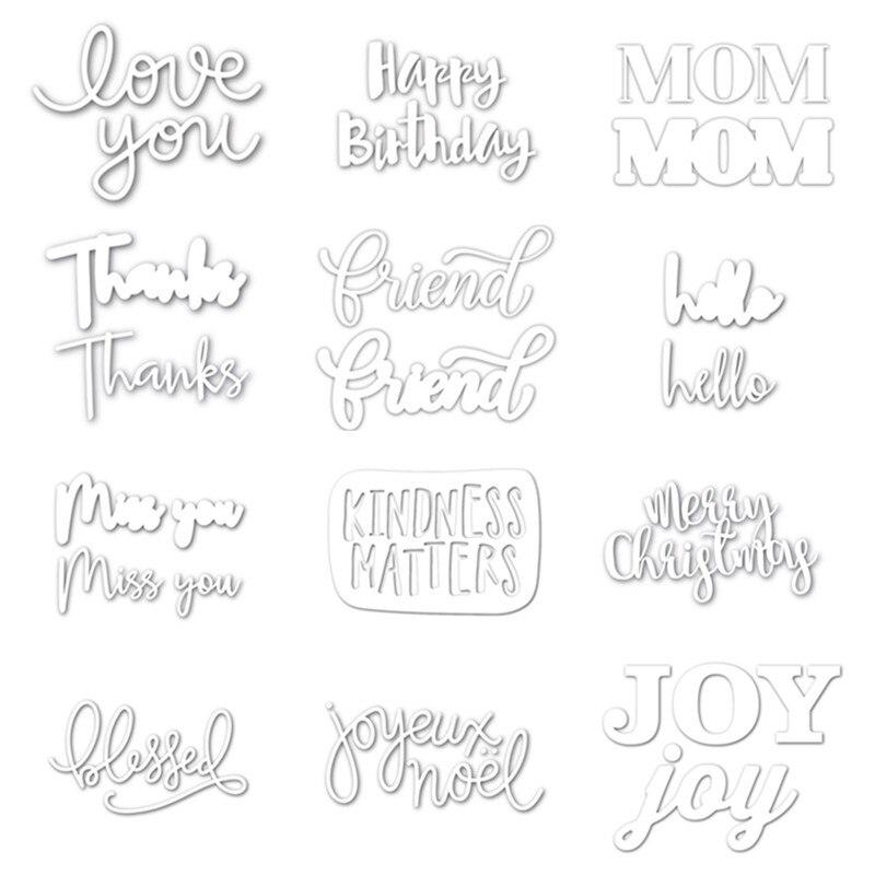 Letters Words Daliy Cutting Dies Stencil Scrapbooking Photo album Embossing DIY