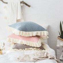 Простая однотонная объемная кружевная хлопковая декоративная наволочка для детской подушки мягкая декоративная подушка на сиденье