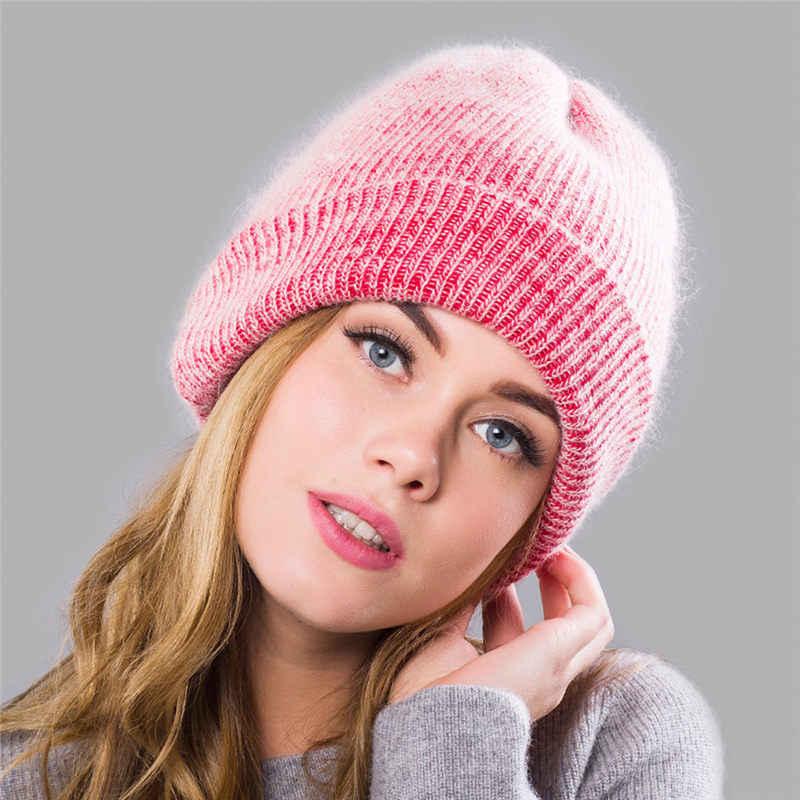 013df554b4030 Fashion Winter Wool Hat for Women Rabbit Cashmere Knitted Beanies Cap Thick  Warm Vogue Ladies Angora Hat Female Beanie Hats