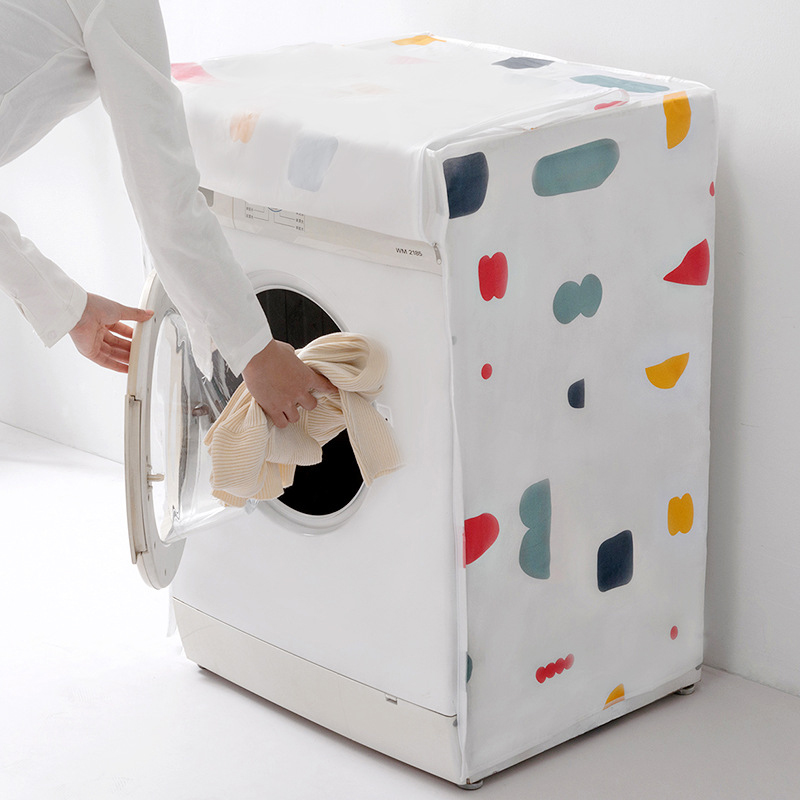Floral Washing Machine Cover Dust Proof Cover Waterproof Case Protective Dust for Drum Flip-top Washing Machine Home Decoration