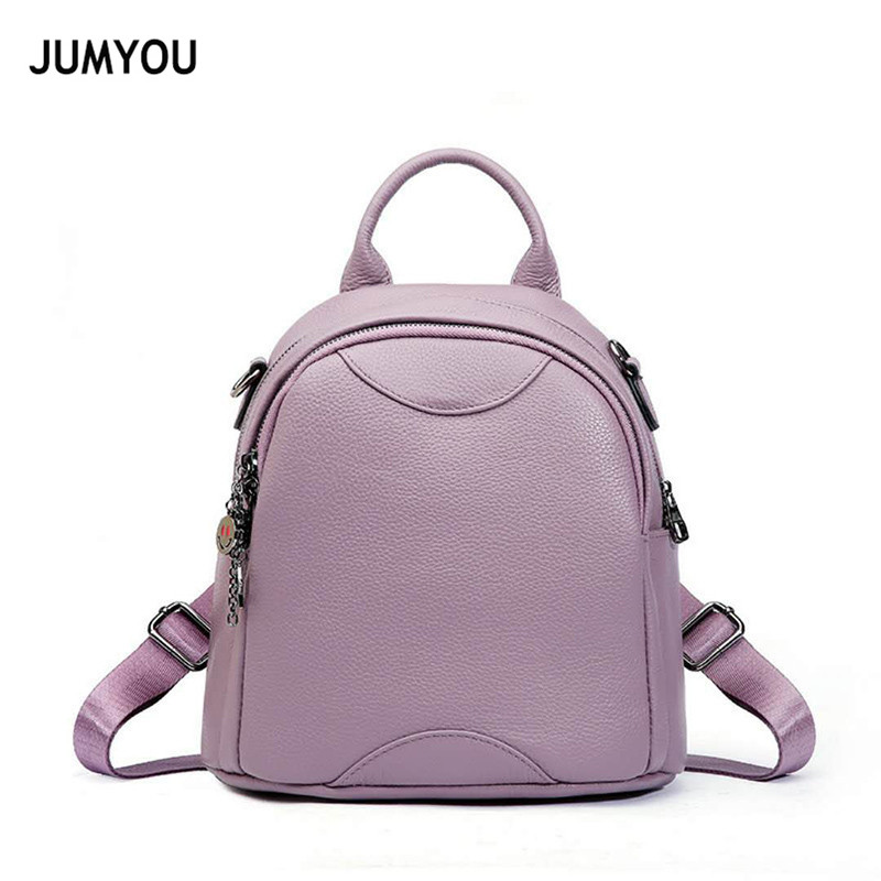 цены на Backpacks Women Genuine Leather Small Mini Light Purple Soft Real Leather Backpacks For Teenage Girls Mochilas Mujer 2018 Verano