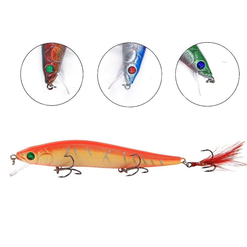 8pcs Hard Minnow Fishing Lures Crank Bait 3D Eyes Sharp Treble Hook 23g 16cm