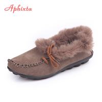 Aphixta Loafers Women Flats Heel Shoes Warm Fur Winter Round Toe Female Ladies Casual Slip On