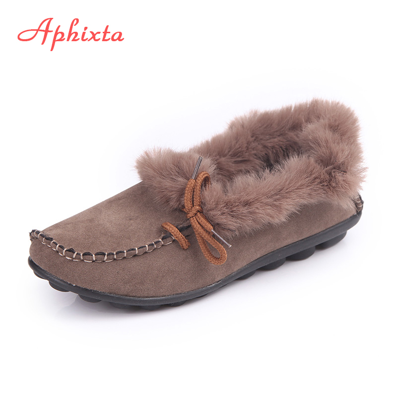Aphixta Loafers Women Flats Heel Shoes Warm Fur Winter Round Toe Female Ladies Casual Slip On zapatos de mujer Shoes Plus Size odetina 2017 new women pointed metal toe loafers women ballerina flats black ladies slip on flats plus size spring casual shoes