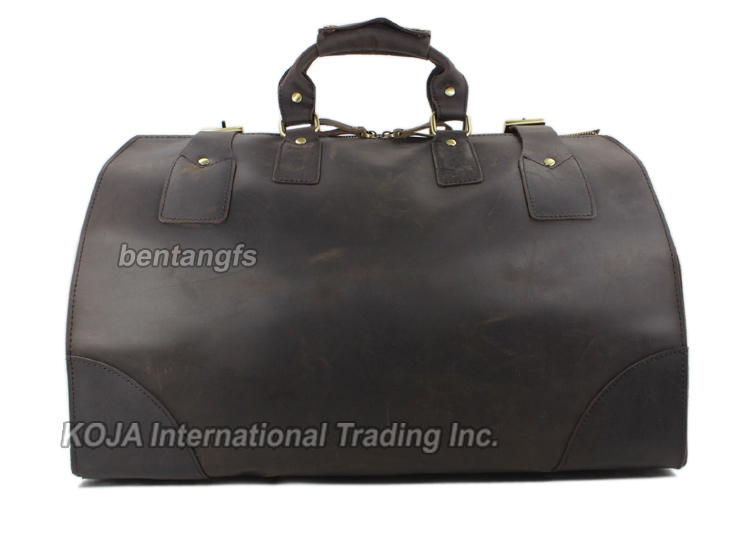 Image 3 - MUNUKI Vintage luggage bag Crazy Horse Genuine Leather Travel bag  men Leather duffle bag Large Weekend Bag Tote Big-in Travel Bags from Luggage & Bags