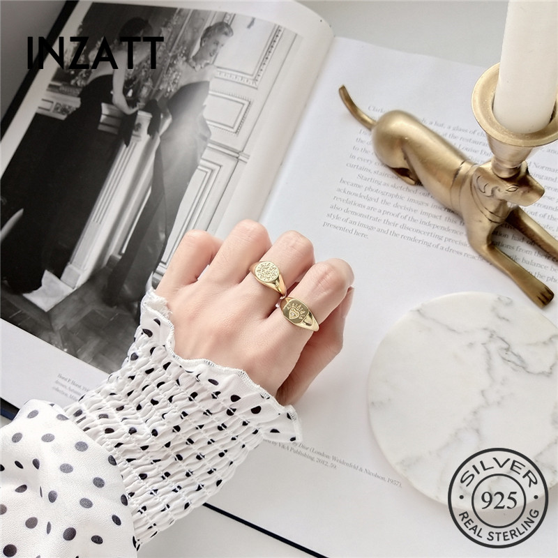 INZATT Real 925 Sterling Silver Vintage Badge Pattern Adjustable Ring Fine Jewelry For Fashion Women Party Accessories GiftINZATT Real 925 Sterling Silver Vintage Badge Pattern Adjustable Ring Fine Jewelry For Fashion Women Party Accessories Gift