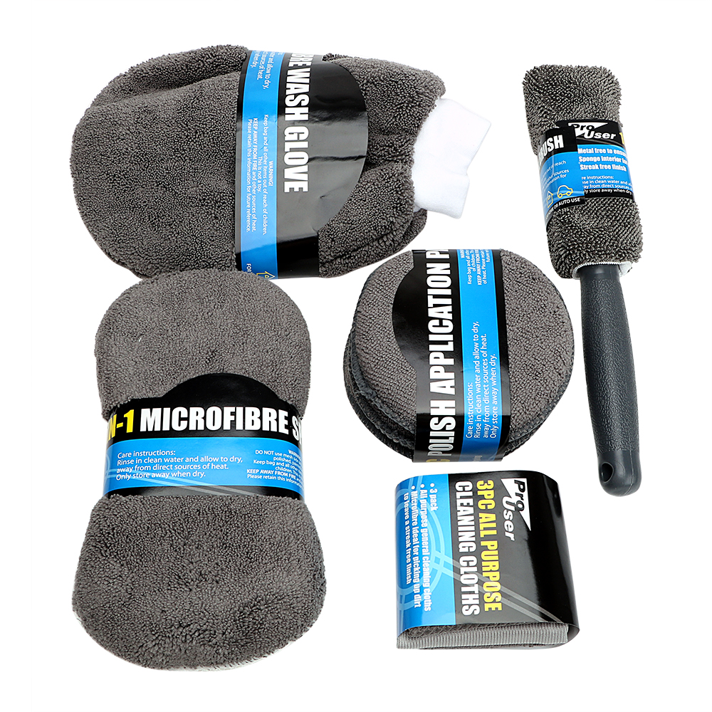 Car Wash Cleaning Kit Microfiber 9Pcs Include 3* Microfiber Towels, 3* Applicator Pads, Wash Sponge, Wash Glove, Wheel Brush