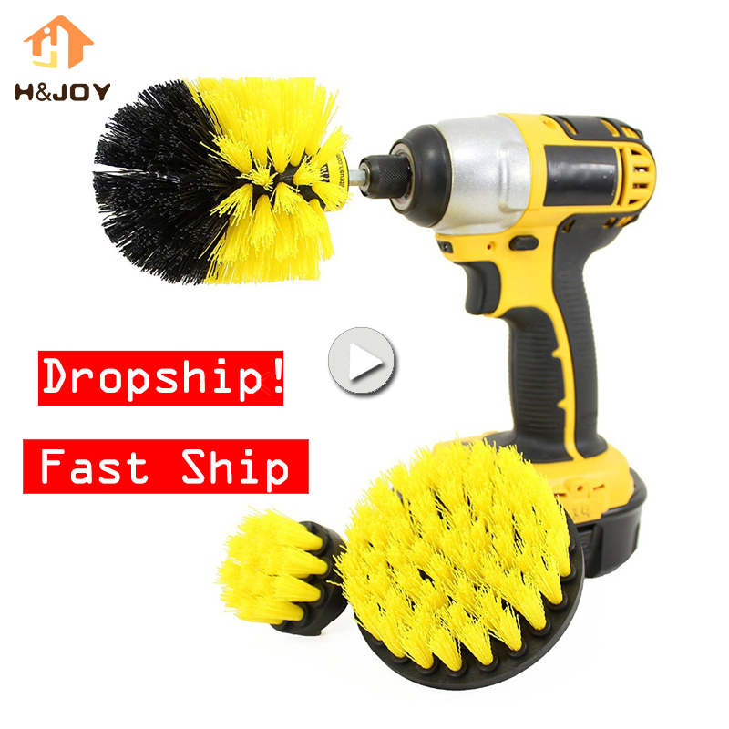 3 pcs Power Scrubber Brush Drill Brush Clean for Bathroom Surfaces Tub Shower Tile Grout Cordless