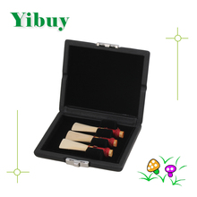 Yibuy 3pcs Black Bassoon Reed Box Case with Flannel Slot Hold Bassoon Reeds