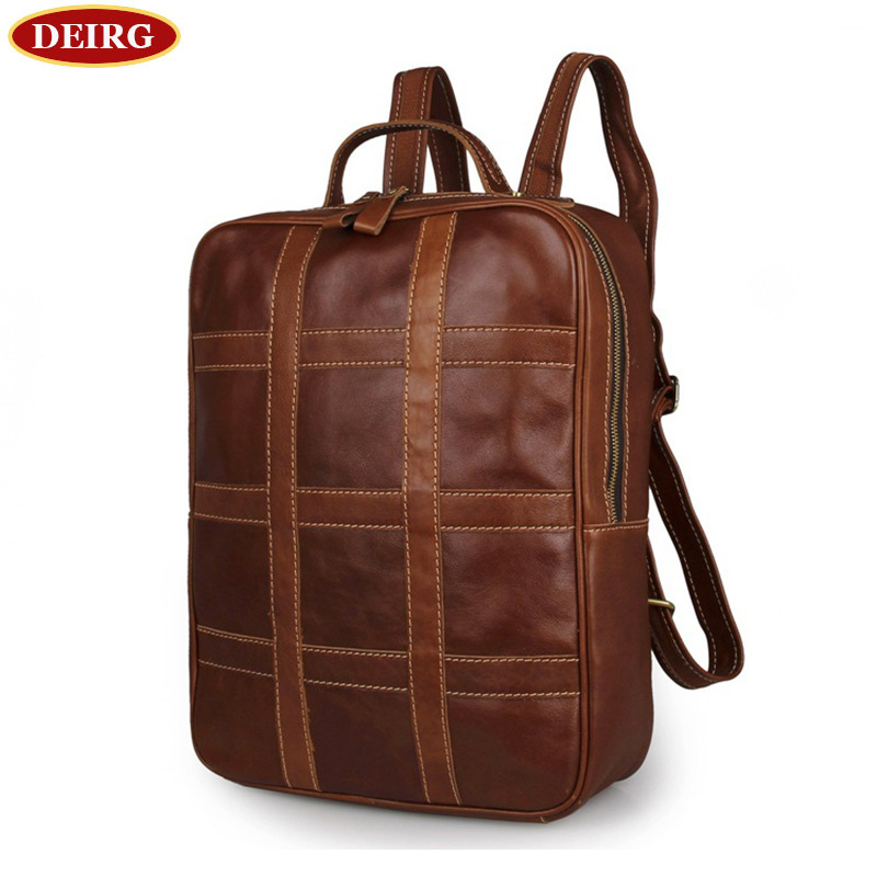 Vintage Genuine Cowhide Brown Leather Men Backpack Travel Bag Bookbag Schoolbag for young Fit for 15