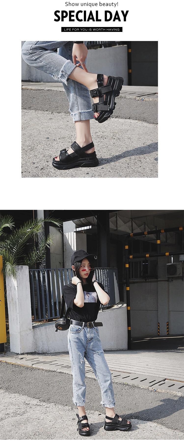 HTB1cbd.KCzqK1RjSZFLq6An2XXaL Summer Women Sandals Buckle Design Black White Platform Sandals Comfortable Women Thick Sole Beach Shoes 393w