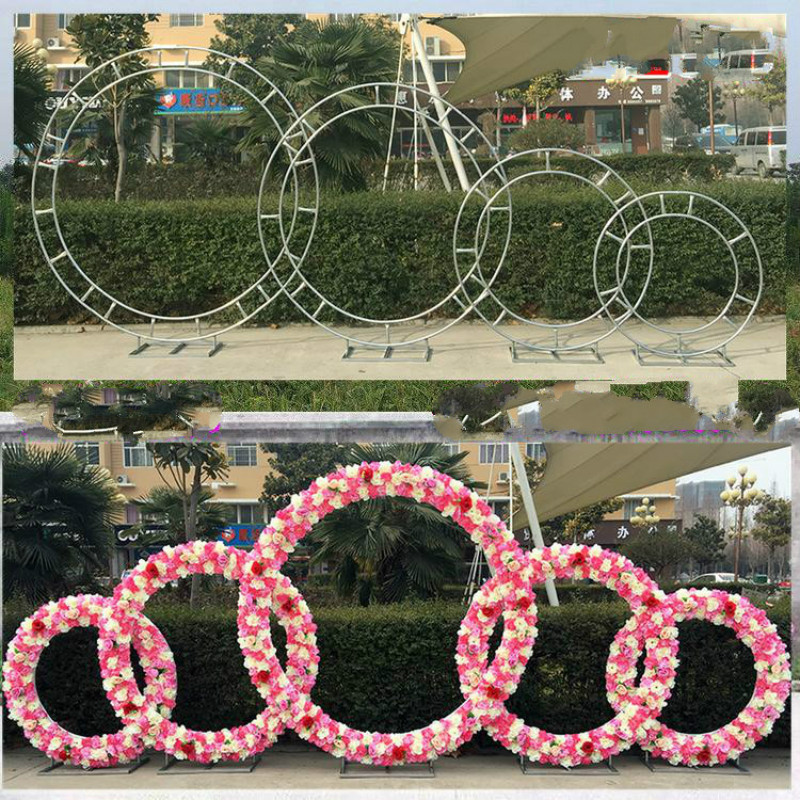 wedding prop iron ring shelf artificial flower wall stand door wedding background decor iron arch stand