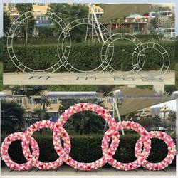 Hochzeit prop eisen ring regal künstliche blume wand stehen tür hochzeit hintergrund decor eisen arch stehen geburtstag party suppllies