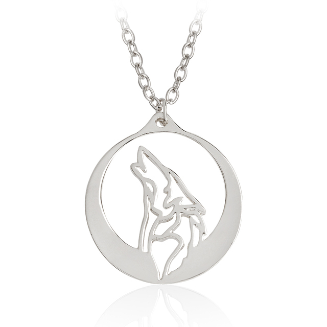 Howling wolf with silver moon pendant necklace gold ethnic animal howling wolf with silver moon pendant necklace gold ethnic animal necklaces men boy friend simple fashion aloadofball Gallery