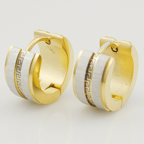 Dolaime Classical Greece Style Round Ear Gold Color Women Men Stud Earrings 2015 Rock Stainless Steel Jewelry