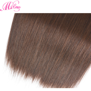 Image 5 - Straight Human Hair Bundles With 2x4 Closure Brazilian Brown Bundles With Closure Non Remy #2 #4 Mslove