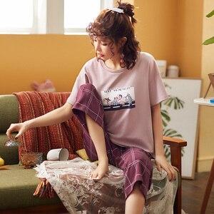 Image 4 - Pijamas femininos de algodão, pijamas tricotados para mulheres, manga curta, gola redonda, tamanho grande M XXL
