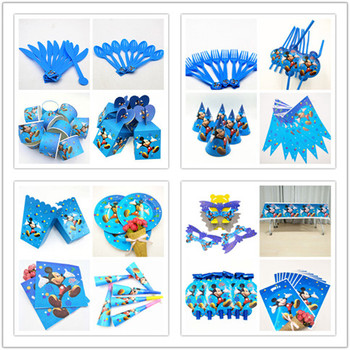 Mickey Mouse Party supplies Kids Baby Shower Favors Tablecloth Cups Napkins Plates Knives Forks Spoons Birthday Party Decoration image