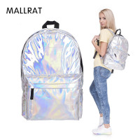 MALLRAT Stylish Backpack Women Silver Hologram Laser Backpack Men S Bag Leather Holographic Multicolor Geometric Backpack
