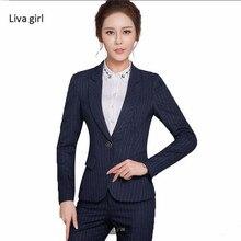 High Quality work trouser suit Business Fashion formal long sleeve stripe navy blazer pants set office ladies plus size suits