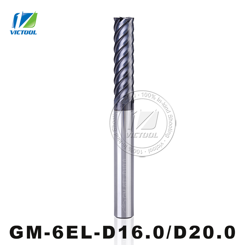 GM-6EL-D16.0/D20.0 Cemented Carbide High Speed 6-Flute Flattened End Mill Straight Shank Milling Tools Machining Stainless Steel gm 2el d16 0 d20 0 cemented carbide milling 2 flute flattened end mill with straight shank and long cutting edges coated tools