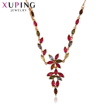 Xuping Fashion Necklace Pendant New Design Gold Color Plated for Women Chain Jewelry Top Sale Christmas Day Gift S59-43450