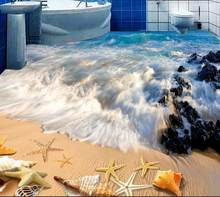 3d Wallpaper 3d Flooring Bathroom Beach Photo Wallpaper 3d Floor Tiles Wallpaper-roll-size Pvc Flooring Roll(China)